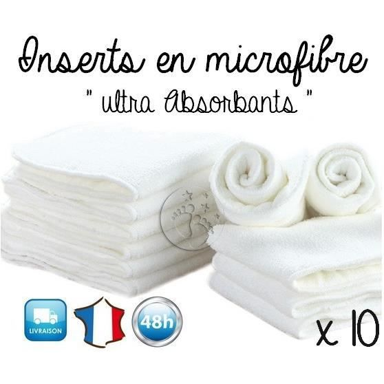 lot 10 inserts en microfibre pour couche lavable achat vente insert lange tissu. Black Bedroom Furniture Sets. Home Design Ideas