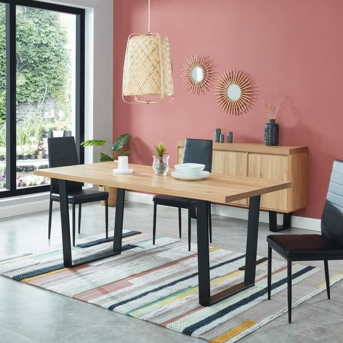 felix table a manger style industriel 6 a 8 personnes plateau melamine coloris chene pieds metal noir l 180 x 85cm