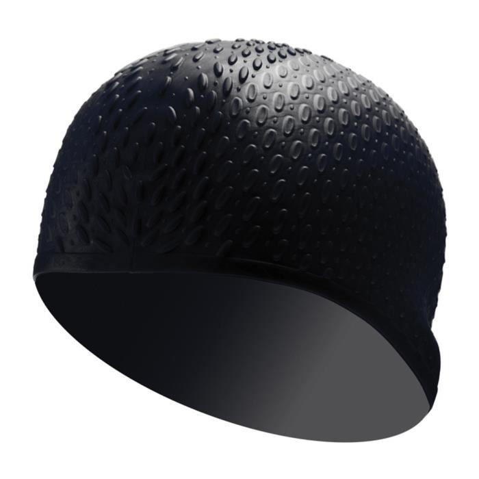 Bonnet de Bain Silicone Etanche Natation pour Longs Cheveux Epais Noir Taille Unique