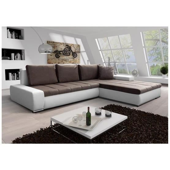 canap convertible orava blanc marron angle droit achat vente canap sofa divan black. Black Bedroom Furniture Sets. Home Design Ideas