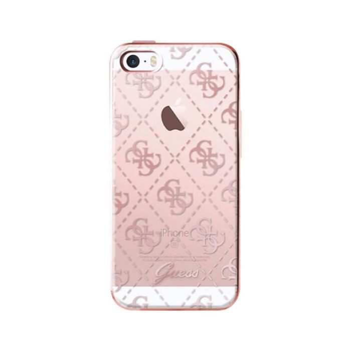 Guess Coque Semi Rigide Pour Iphone 5s Se Transparente Et Rose
