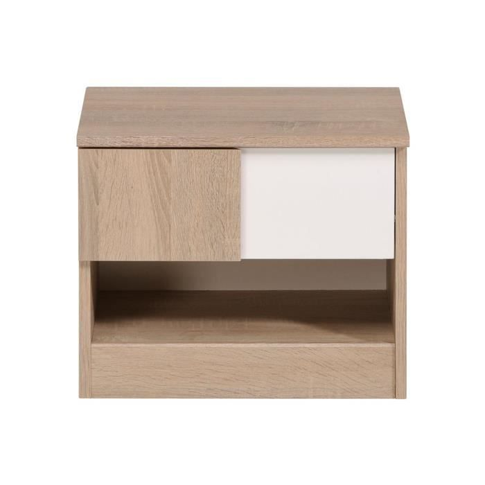 table de chevet enfant ch ne et blanc parker achat. Black Bedroom Furniture Sets. Home Design Ideas