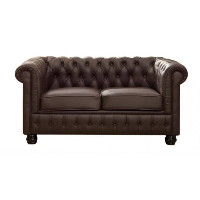 Canap cuir chesterfield 2 places chocolat cuir achat for Achat canape cuir