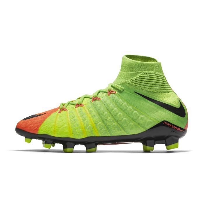 huge discount a5852 d96ad Chaussures football Nike Hypervenom Phantom III DF FG Vert Orange Junior