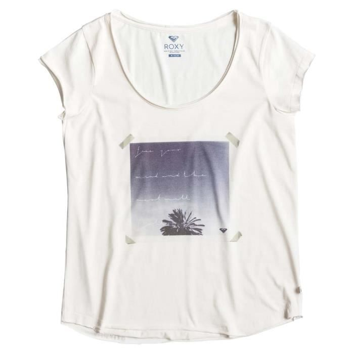 562226a7e9f Vêtements femme T-shirts Roxy Surf Wise Free Your Mind Blanc Blanc ...