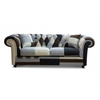 Canap 3 places tissu chesterfield patchwork arl achat vente canap s - Chesterfield 3 places ...