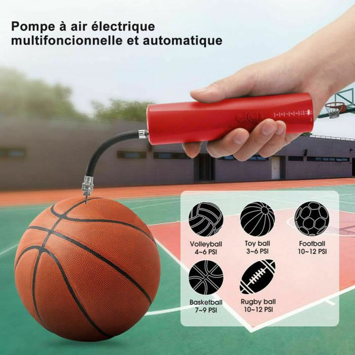 4 Main Pompe à air avec aiguille EQUIPE DE BASKET-BALL ballons sports football NOUVEAU!
