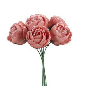 FLEUR ARTIFICIELLE BOUQUET 6 ROSES MOUSSE ROSE SAUMON 14CM  Rose, fuc