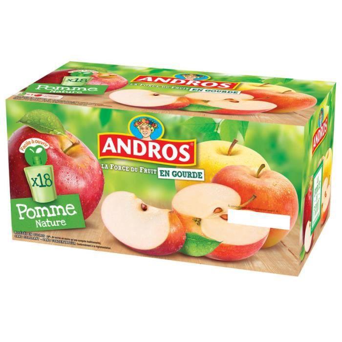 ANDROS Compotes de Pommes Natures en Gourde 18 x 90g