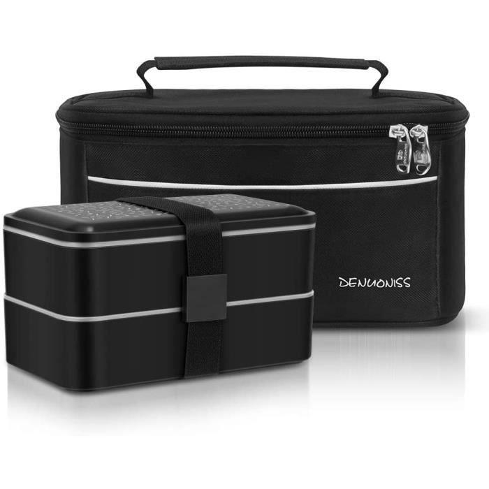 Meigirlxy Boîte à Bento Lunch Box Isotherme, Set de 2 Couvert et Portable Sac à Déjeuner Thermique/Boîte à Repas avec 2 sans BPA Mic