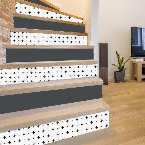 Adhesif contremarche lot de 4 - CROSS - Adhesif pour escalier - Dimensions 1m x 17 cm