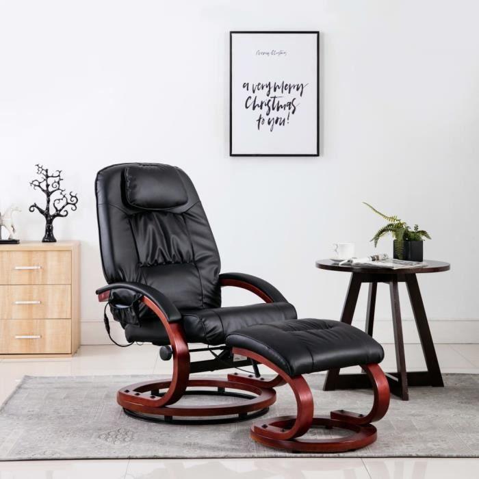 Fauteuil de massage Fauteuil électrique de relaxation grand confort avec repose-pied Noir Similicuir