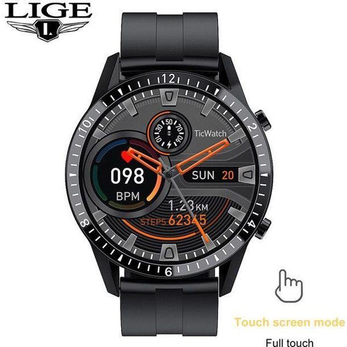 LIGE – montre connectée de Sport pour hommes, écran tactile, cercle complet, étanche, Sport, Fitnes Silicone strap Black -CLAT3587