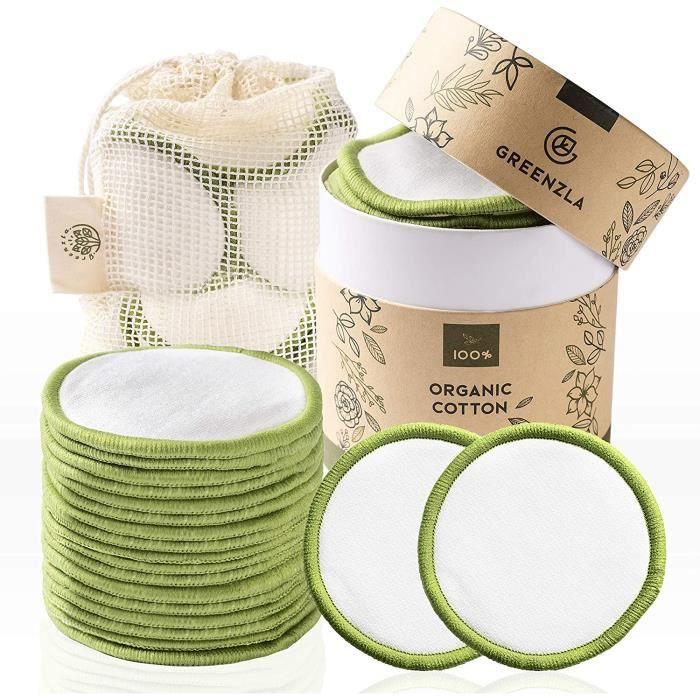 Outils et accessoires Coton Démaquillant Lavable Greenzla (lot de 20) avec sac à linge lavable et boite ronde pour le st 20964