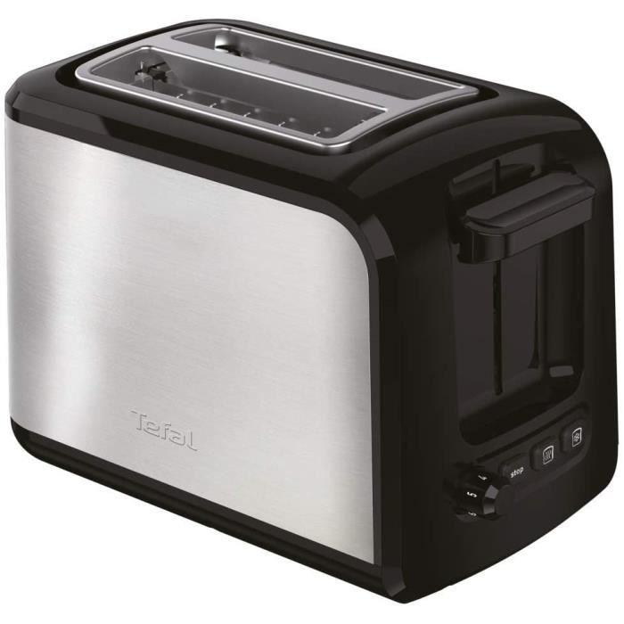 Tefal TT410D10 Grille-pain Toaster Express 2 fentes 850W Décongélation Réchauffage 7 Niveaux de Dorage Inox et Noir