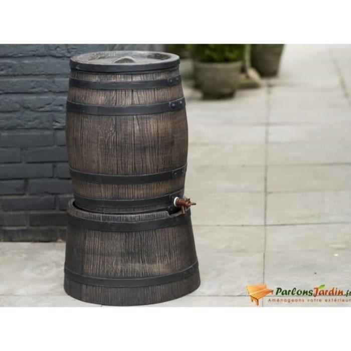 Baril d'eau de pluie avec aspect de bois 120L 50,5x66 cm Marron Parfait #323464