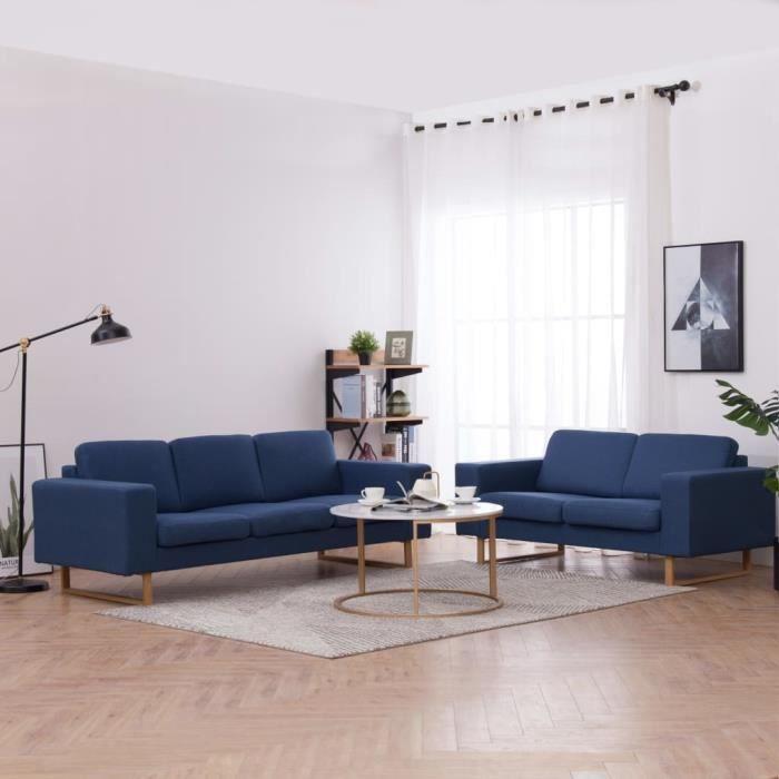 Ensemble Canapés droits de relaxation 3 + 2 places - Sofa Canapé de salon Tissu Bleu Moderne #69778