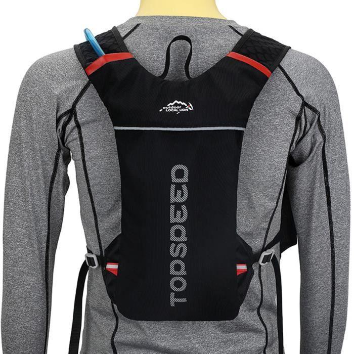 Sac à dos d'hydratation, Marathon Trail Running Sac à dos, Sac à dos de gilet de vélo extérieur 5L, pour la course à pied (Noir)-WA