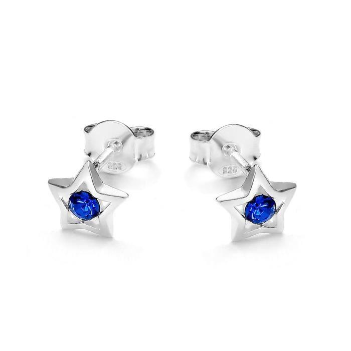 butterfly Filles Boucles D'oreilles Argent Sterling Bleu Vrais Swarovski Elements Étoile Pochette à Bijoux Cadeau Enfant Fille