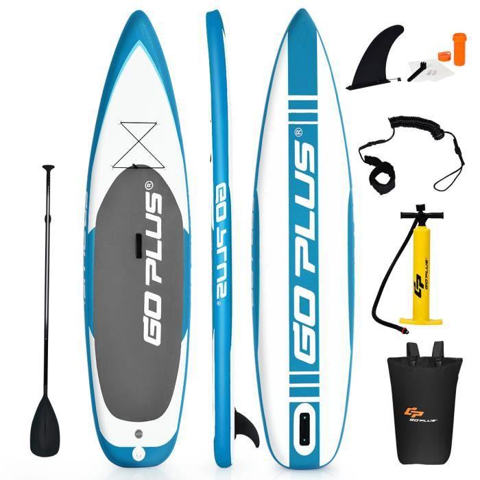 COSTWAY Stand Up Paddle Gonflable 335 x 76 x 15CM Charge 150KG avec Pagaie Réglable,Pompe,Sac à Dos,Aileron Kit de Réparation Vert