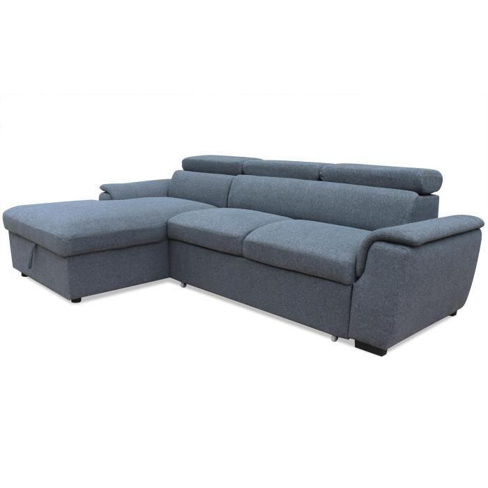 Canapé d'angle convertible Tinda Tissu Gris