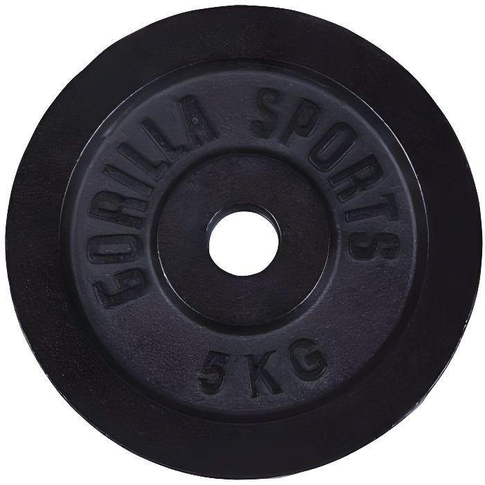 Gorilla Sports - Poids disque en fonte couleur Or ou Noir de 0,5kg à 30kg - NOIR - 5 KG