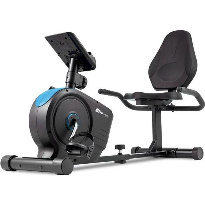 HOP-SPORT Vélo d'appartement Semi-Allongé HS-2050L Beat - Masse d'inertie 8 kg- Siège réglable avec Dossier - roulettes de Transport