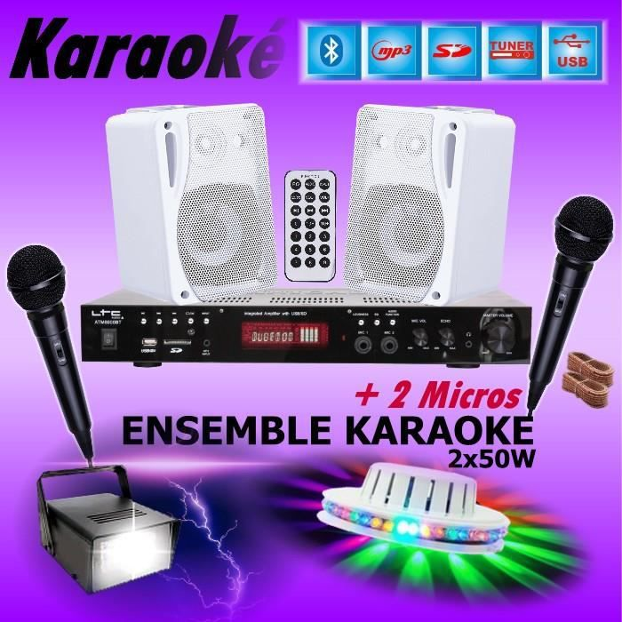 ENSEMBLE KARAOKÉ + JEUX DE LUMIERE avec AMPLI USB MP3 SD BLUETOOTH + 2 MICROS + 2 ENCEINTES HIFI ... PA-DJ