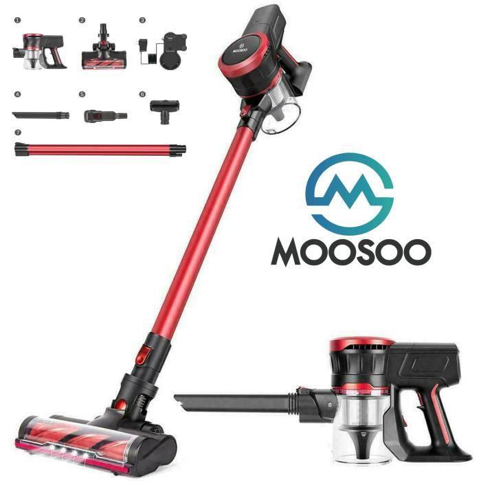 Aspirateur balai sans fil MOOSOO 23Kpa et moteur sans balais Multi-attaches Baguette d'extension de batterie amovible Ultra-silencie