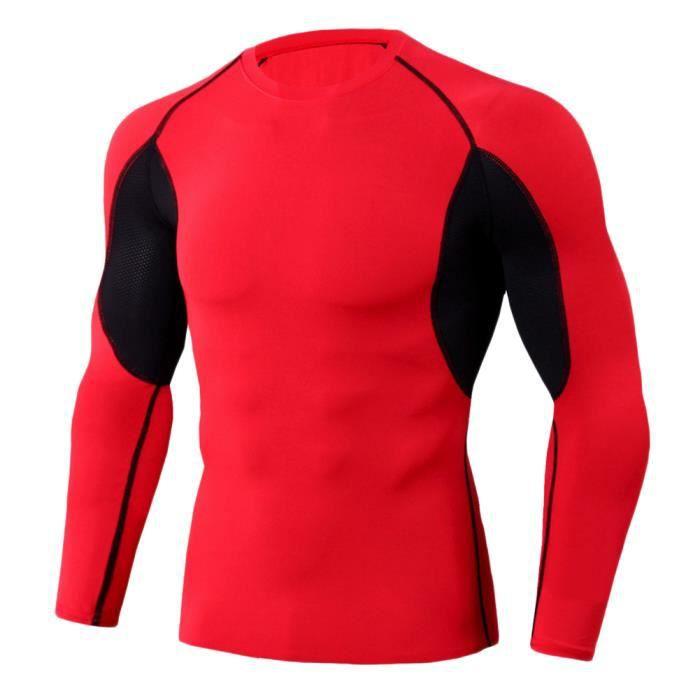 Tee Shirt De Sport Pour Homme Manches Longues Haut De Compression Base Layer Séchage Rapide TC88 S