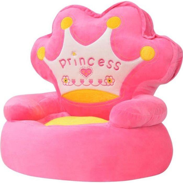 Chaise en peluche pour enfants Princesse Rose