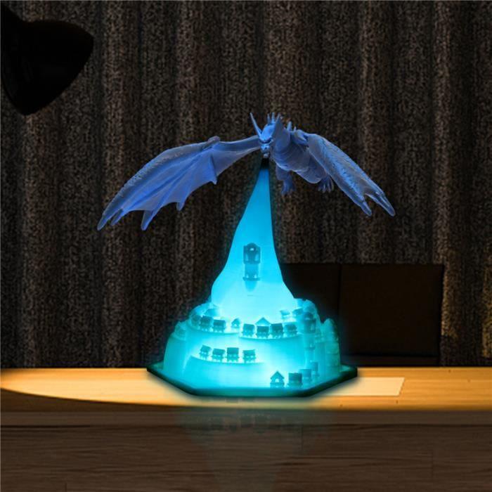 Lumière de dragon de glace 3D, avec veilleuse de château, décoration de veilleuse rechargeable, cadeaux de Noël pour enfants