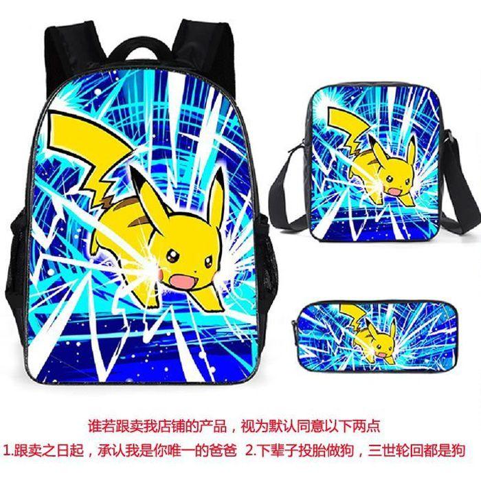 3 Pack Sac à Dos Sac d'ordinateur,Pokemon Pikachu Sac à Dos d'impression Sac à Dos Bookbag Femmes Sac porté Dos Scolaire A2