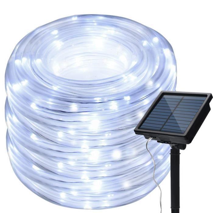 Guirlande Lumineuse Extérieur LED, 12m 100LED Flexible Solaire Lumière de Bande Décoration pour Jardin Mariage Fête Noël Maison