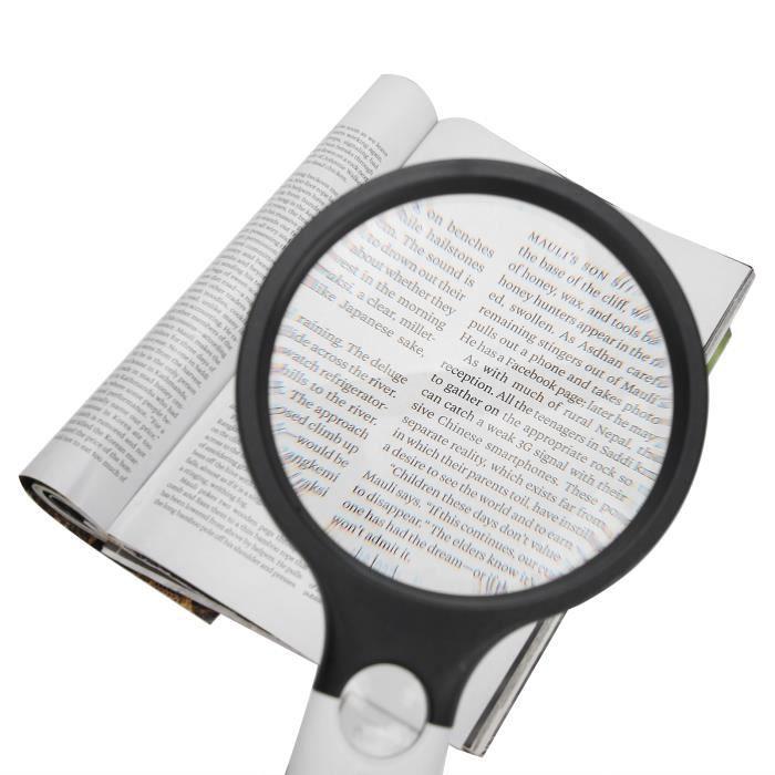 loupe portative Lecture de la loupe portable à piles 4LED 4X 30X Loupe d'objectif