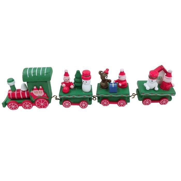 1 pc De Noël En Bois Train Mignon Mini Jouet Enfants Cadeau Ornements Maison Jardin d'enfants Décoration Fête OBJET DECORATIF