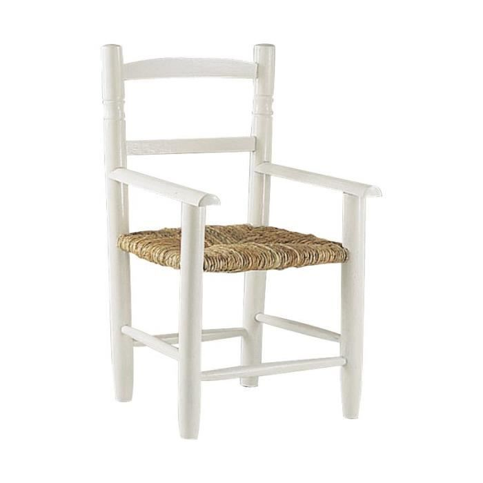 chaise enfant en bois laqu blanc avec accoudoir achat. Black Bedroom Furniture Sets. Home Design Ideas