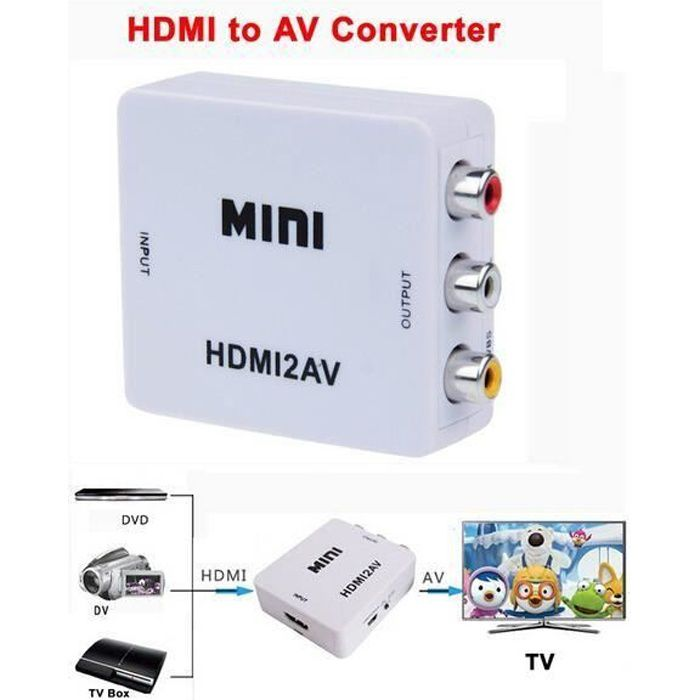 hdmi vers av composite rca cvbs vid o audio adaptateur convertisseur hdmi2av repartiteur tv. Black Bedroom Furniture Sets. Home Design Ideas