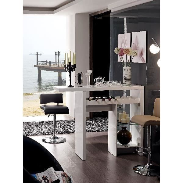 Bar Table Design Blanc Laqu Sanne Meuble Salon Achat Vente Mange Debout Bar Table Design