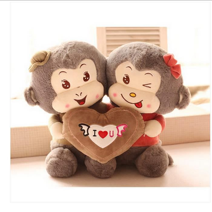 20cm mignon couples d 39 amour de singe poup es en peluche. Black Bedroom Furniture Sets. Home Design Ideas