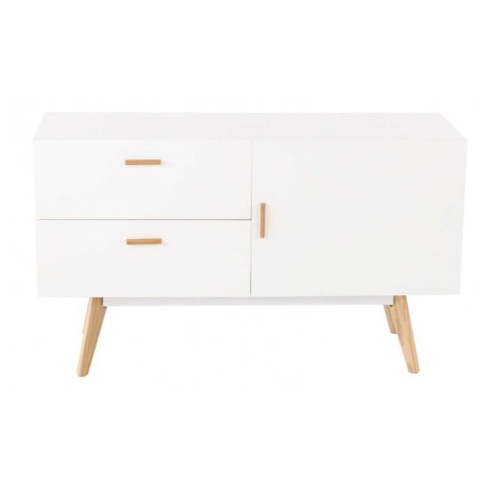 Meuble Bas 1 Porte 2 Tiroirs Blanc Collection Pixy