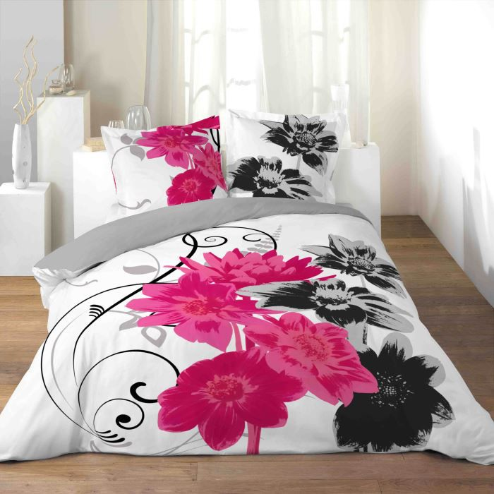 parure de couette 100 coton 240x260 rose achat vente. Black Bedroom Furniture Sets. Home Design Ideas