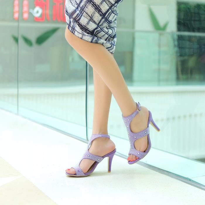 talons hauts-Pure Color High Heel Heel Thin Ban...