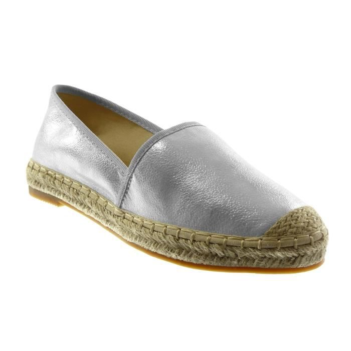 Espadrille Mode femme slip Chaussure on Angkorly grainé 9DH2IEW