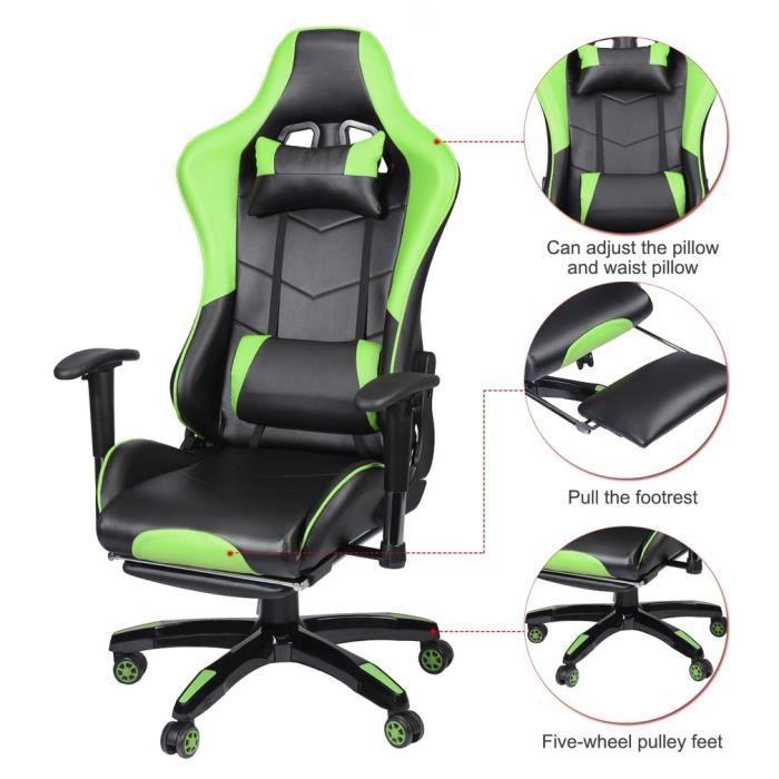Amazing Gaming Chair Avec Repose Pied Ergonomique Fauteuil Gamer Lamtechconsult Wood Chair Design Ideas Lamtechconsultcom