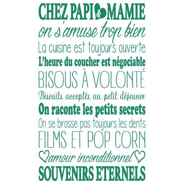 Sticker Décoration Texte Chez Papi Et Mamie Coeurs Format 100x60 Cm Vert Cactus Tex008