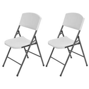 CHAISE CEN Chaise de jardin pliante 2 pcs HDPE Blanc