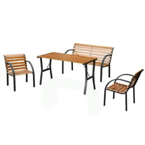 Salon de jardin Granada, ensemble, table+banc+2 fauteuils ...