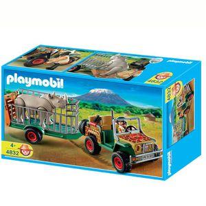 UNIVERS MINIATURE Playmobil Véhicule de safari avec rhinocéros