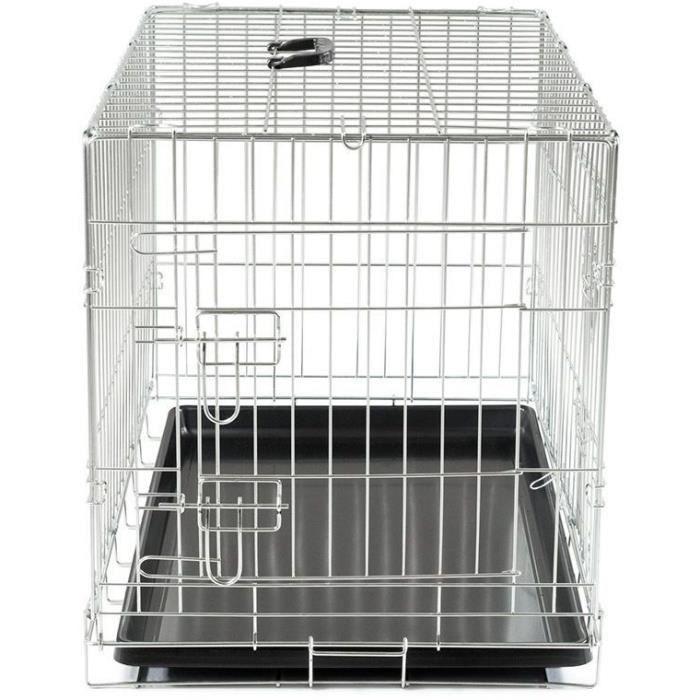 VADIGRAN Cage métallique pliable Classic - 76 x 48 x 55 cm - Argent - Pour chien